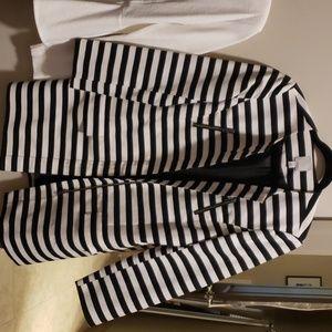 Halogen black & white striped swing jacket
